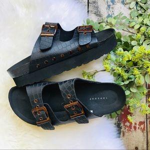 TOPSHOP Platform Black Sandals Sz 10.5 Women's NEW